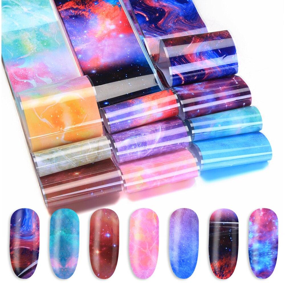 10 Colours Nail Foil Sticker Nail Art Star Transfer Paper Hot Sale Rainbow Sky Japanese Style Nail Polish Adhesive Sticker Tips