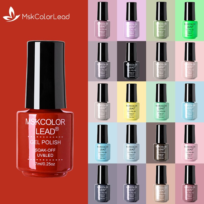 MSK Color Lead 7ml Nail Gel Semi Permanent Gel Polish UV LED Nail Gel Colorful Bottle Varnish Soak Off Nail Art Gel Nail Polish