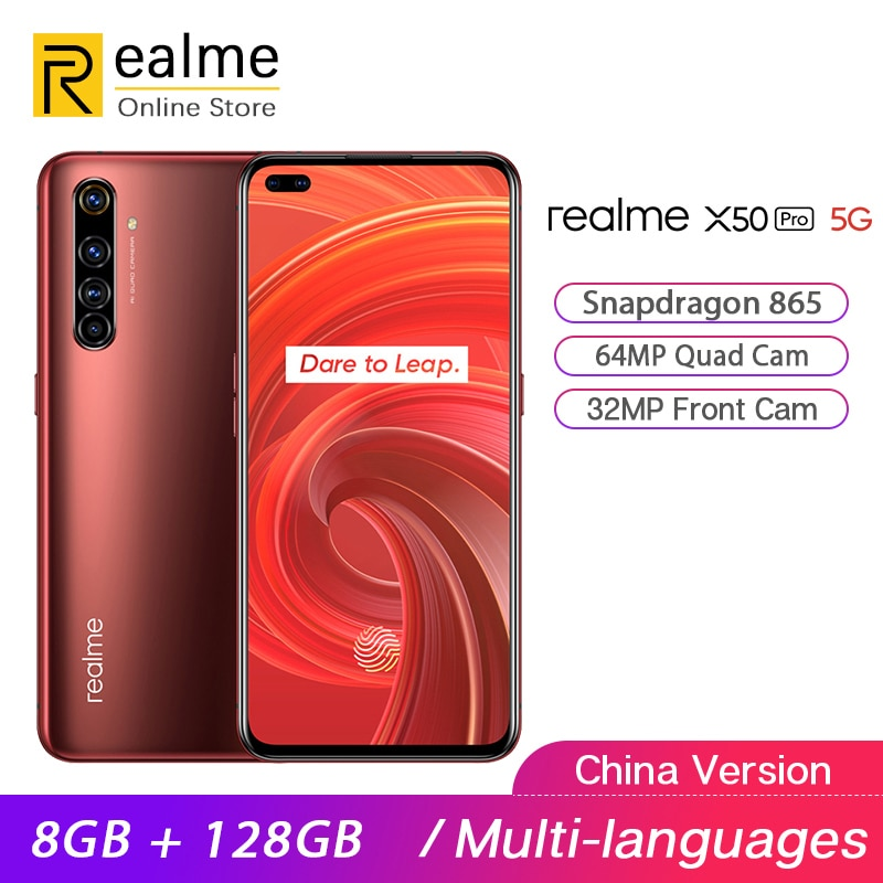 "Original verdadero yo X50 Pro 5G Smartphone Snapdragon 865 8GB 128GB teléfono móvil 6,44 ""2400 × 1080 90Hz 64MP Android 10 65W SuperVOOC"