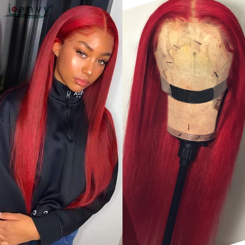 Red Lace Front Human Hair Wigs Straight 13*1 Brazilian Transparent Lace Front Wig Burgundy Remy 99J Part Lace Front Wig Prepluck