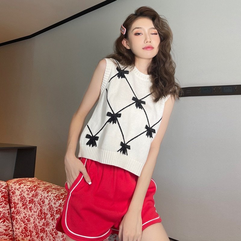 Bows Knitted Tank Top Women Fashion Women White Vest Sweater 2021 New Round Neck Argyle Plaid Sweater Vest Sleeveless Pullover enlarge