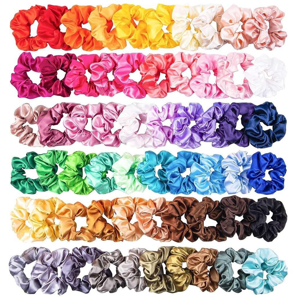 Acessórios para cabelo, elásticos de cabelo 60 peças de cor sólida, cetim, tira de cabelo, adequada para mulheres, rabo de cavalo, headwear, dropshipping # # #