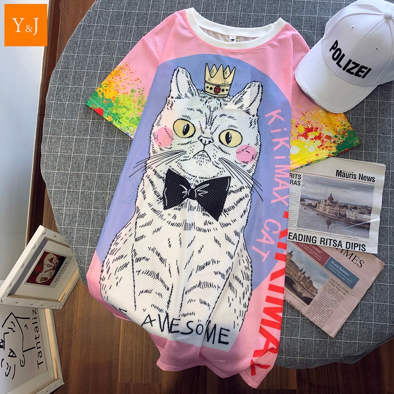 2020 Kpop coreano corona gato arco iris de T camisa mujeres Kawaii Streetwear Hip Hop Tie-dye Camisetas Mujer Tops