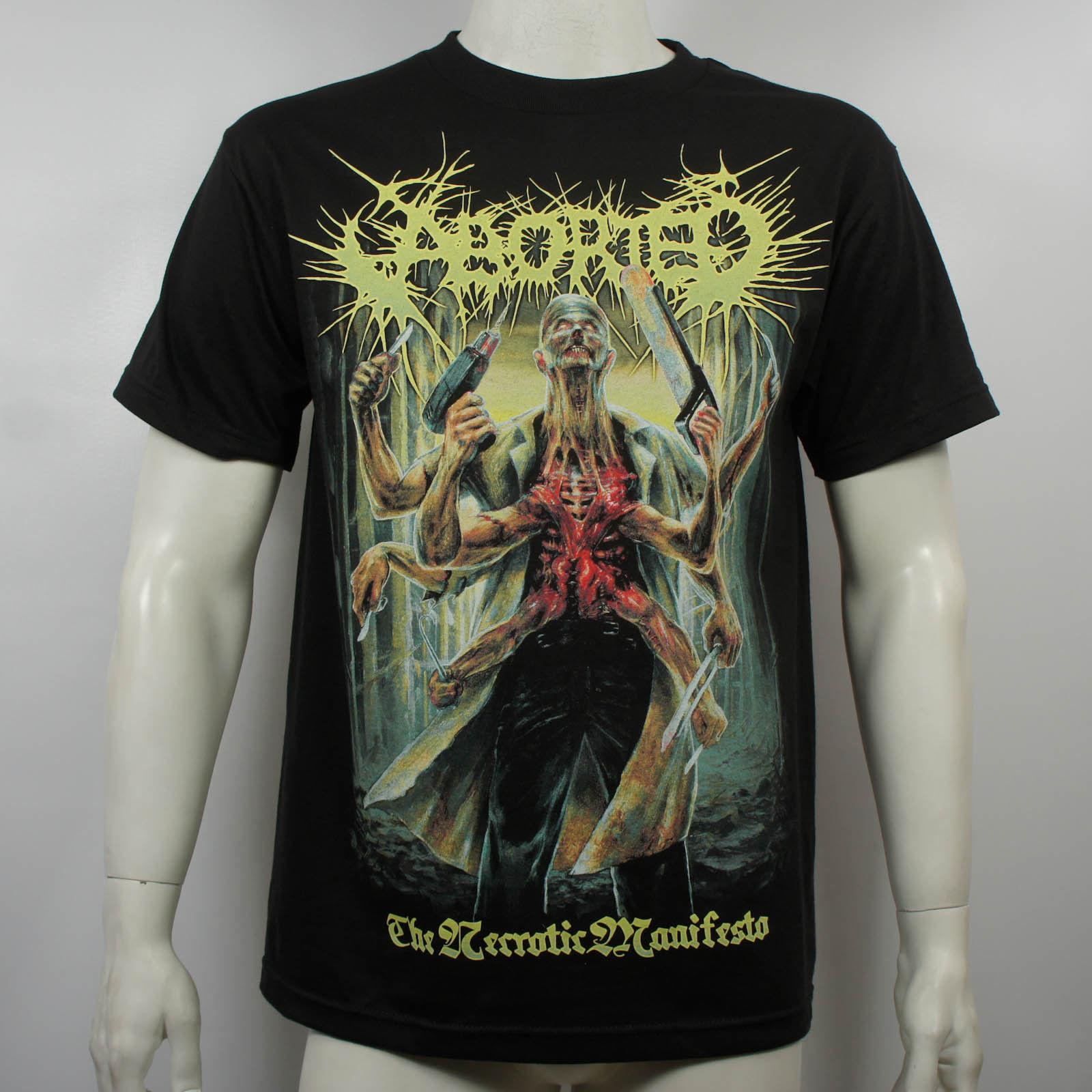 Authentic ABORTED Band Necrotic Manifesto Album Cover Art Logo T-Shirt S-3XL NEW Black Cotton T Shirt Top Tee PLUS SIZE