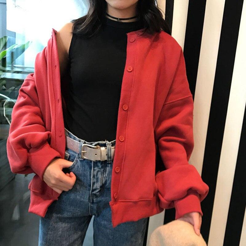 Cárdigans de otoño Harajuku suelta manga larga y cuello redondo Mujer abrigo suéter HSJ88
