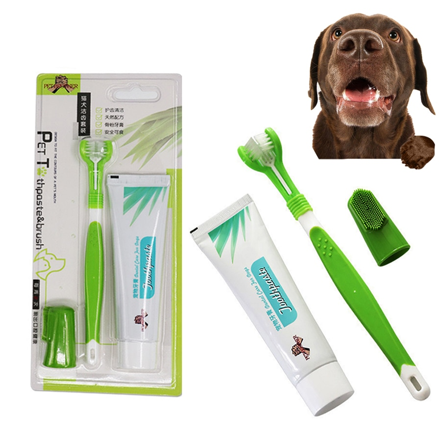 Pet Toothbrush Toothpaste Kit Three Sided Dog Brush Addition Bad Breath Tartar Teeth Care Dog Cat Cl
