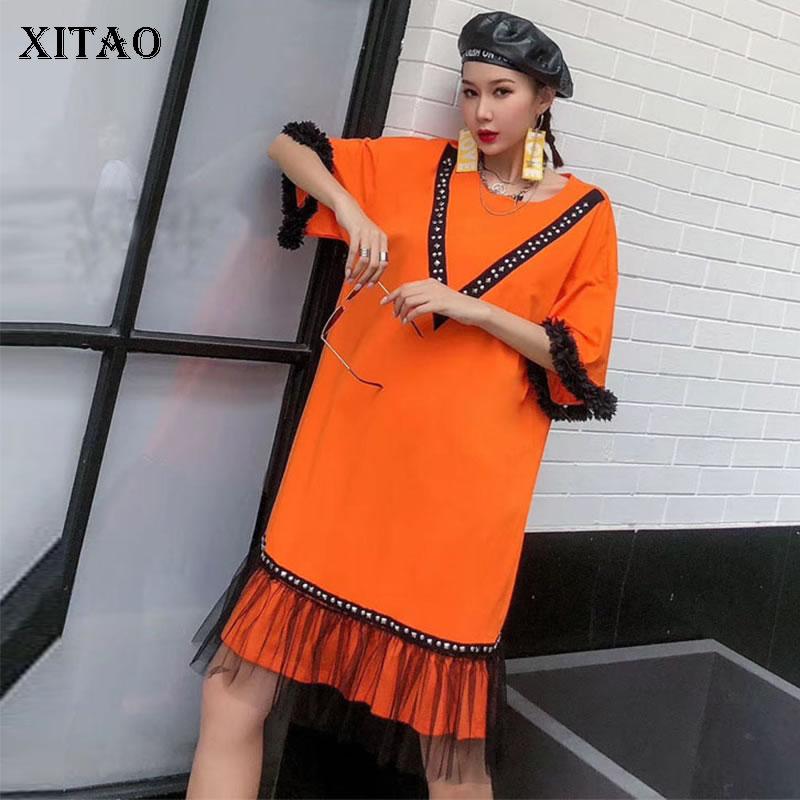 Xitao maré retalhos malha rebite elegante vestido roupas femininas 2020 verão nova moda solto pulôver vestidos de manga curta dmy4123