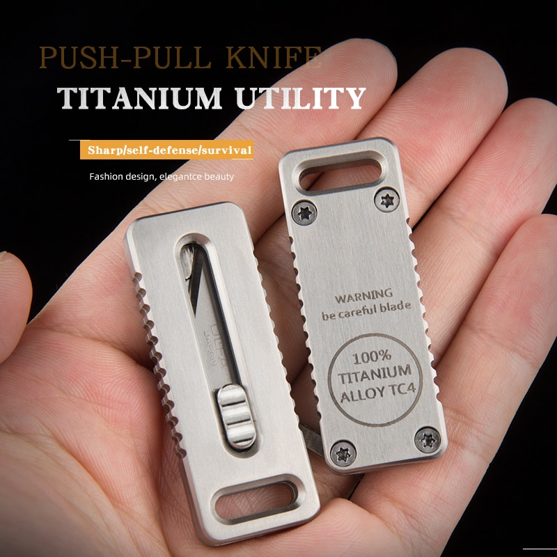 Titanium alloy pocket knife engraved Self-Defense gadget Carry it with you for security check High s