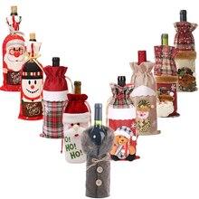 Juego de botellas de vino tinto de Navidad tela de lino a cuadros ornamento de Navidad lindo Santa muñeco de nieve alce botella de vino ropa cálida decoraciones para el hogar