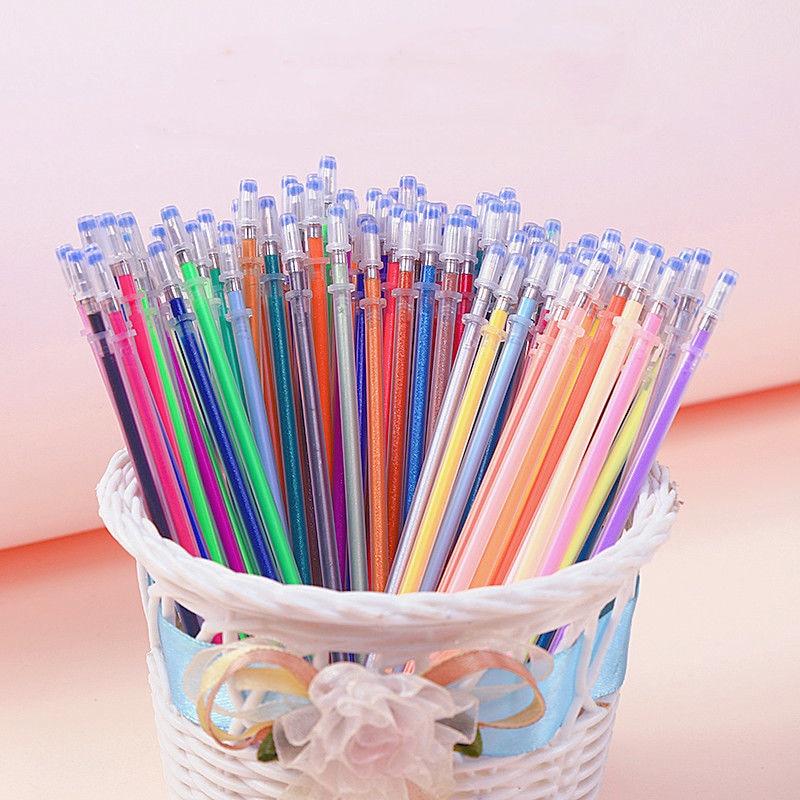 100 Colors Gel Pen Refill Rod 0.7mm Multi Colored Painting Gel Ink Pens Refills Metallic Pastel Neon Glitter Pens DIY Graffiti