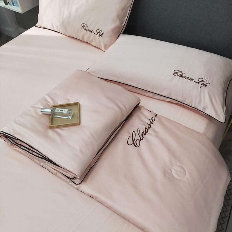 4 قطعة مجموعة تصميم جديد الحرير بياضات السرير الصيف الصلبة الفراش غسلها القطن البطانيات تكييف لحاف الصيف المعزي