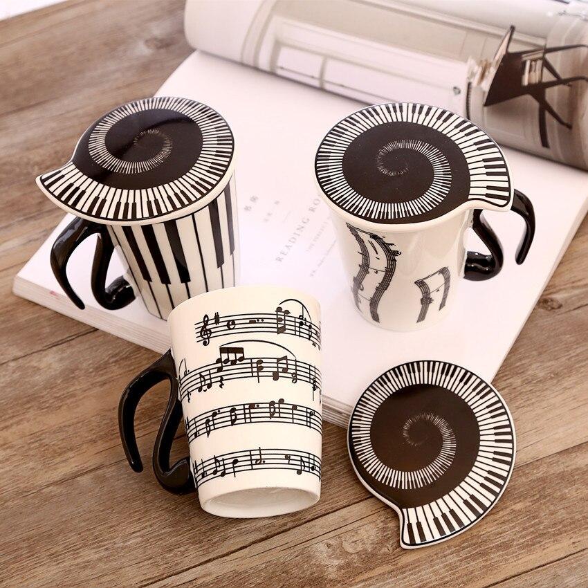 Taza de cerámica creativa Ocarina, marca de notas musicales, taza de agua para parejas, teclado, pareja de tazas con tapa, taza de café
