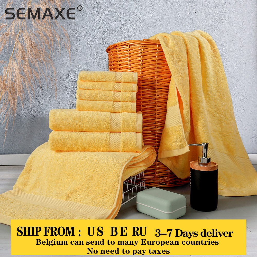 aliexpress.com - SEMAXE Luxury Bath Towel Set,2 Large Bath Towels,2 Hand Towels,4 Washcloths. Cotton Highly Absorbent Bathroom Towels (Pack of 8)