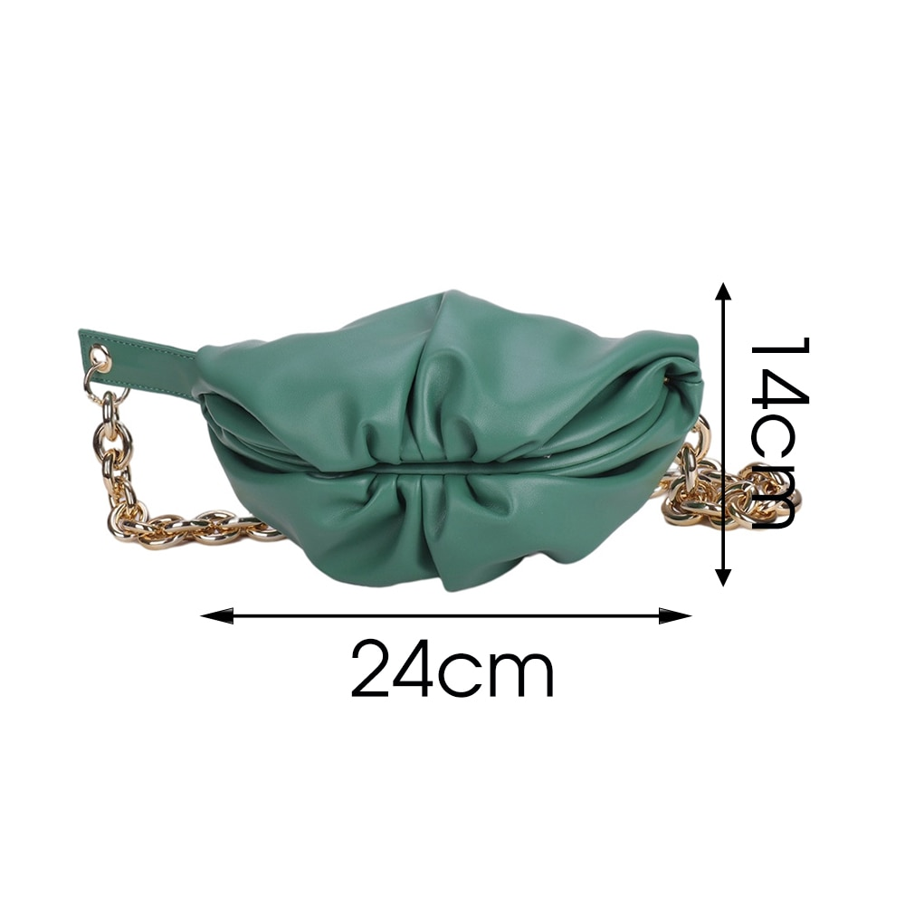 Gold Chain PU Leather Crossbody Bags For Women 2021 Simple Style Folds Design Female Shoulder Bags Ladies Fashion Handbags Totes