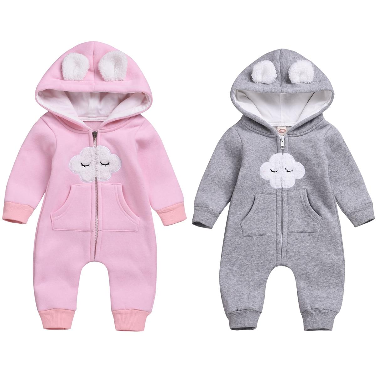 Winter Autumn Baby Rompers Cute Ear Hooded Jumpsuit Warm Girl Overalls Newborn Boy