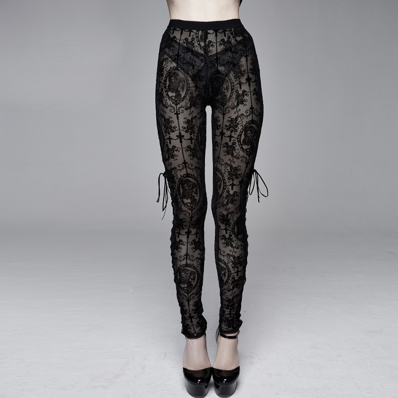 Gothic Sexy Women Leggings Fitness Pants Plus Size Pants Perspective Trousers Side Straps Women Clothes