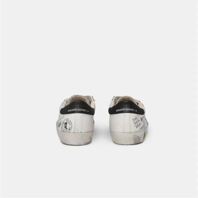 Children's Spring and Summer New First Layer Cowhide Graffiti Old Small Dirty Shoes Boys and Girls Velcro Casual Kids Shoes QZ14 enlarge