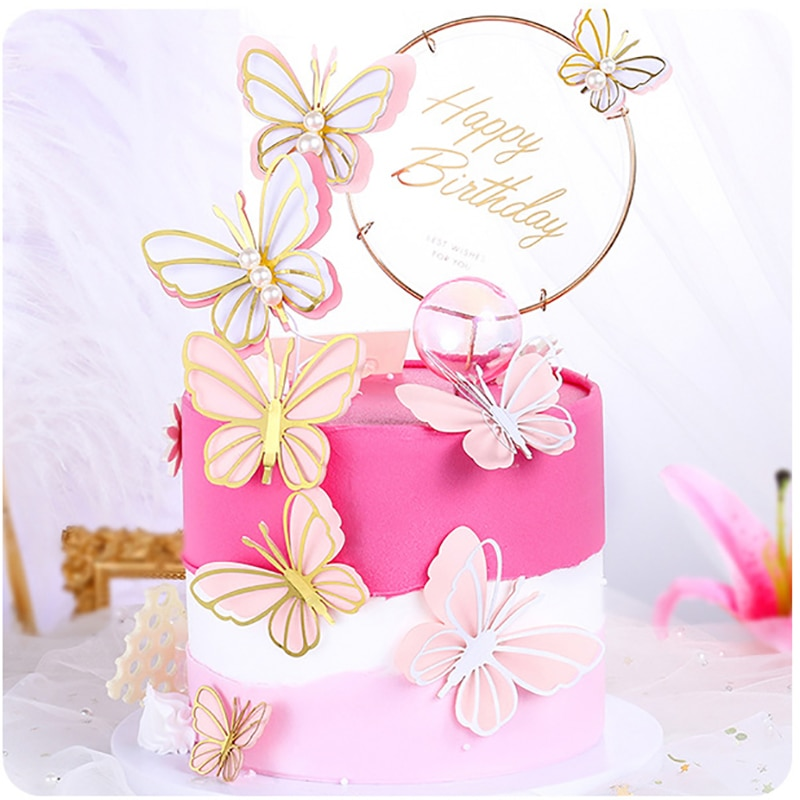 AliExpress - Butterfly Cake Toppers Happy Birthday Cake Decoration DIY Handmade Birthday Party Dessert Decor For Baby Shower Baking Supplies