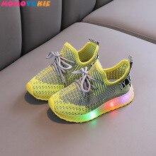 Size 21-30 Children Breathable Non-slip Sneakers Luminous Sneakers for Boys Girls Led Light Up Shoes