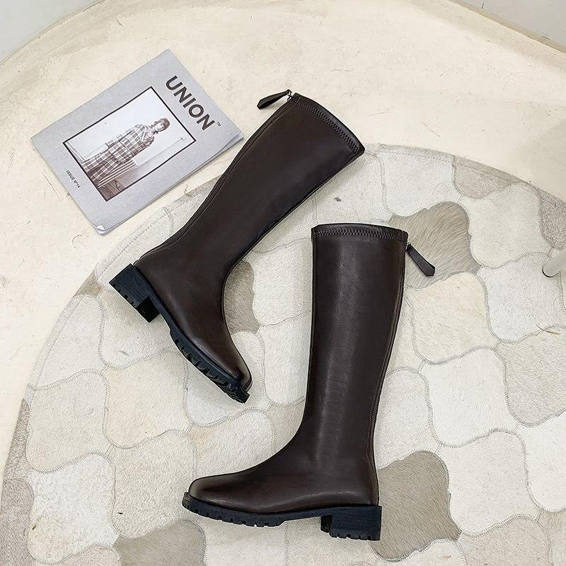 JINJIN-47-Kendall style damskie buty motocyklowe Fashion Square toe buty do kolan jesienne zimowe ciepe lakierowane skrzane