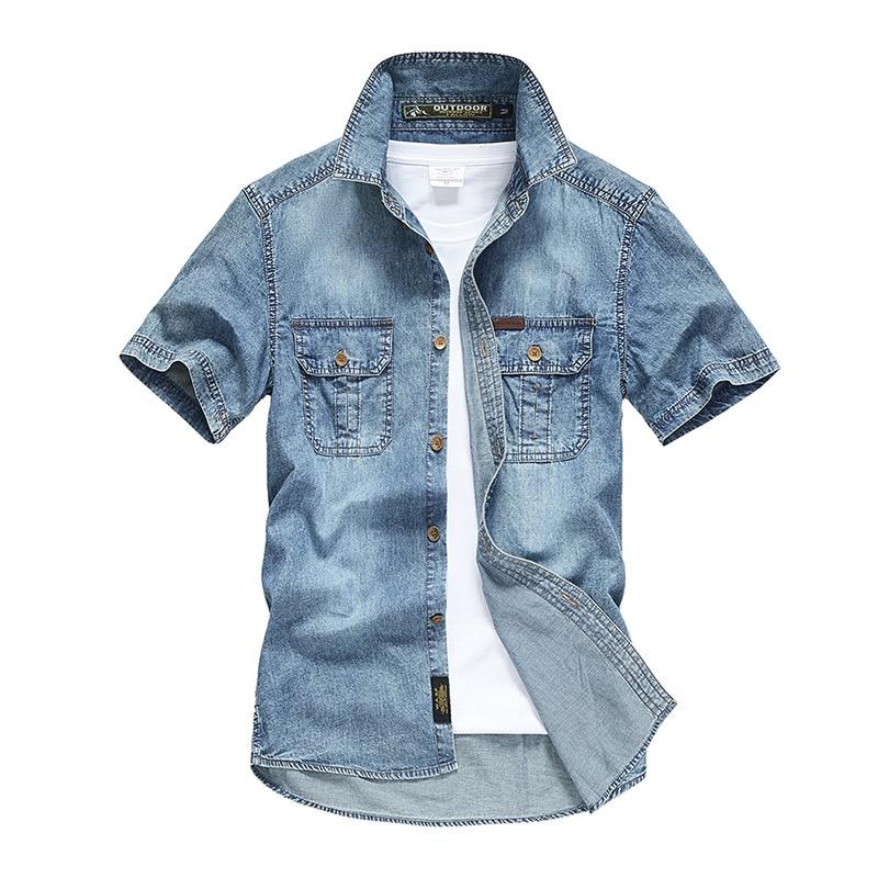قميص جينز صيفي بأكمام قصيرة للرجال ، قميص دينم برمز أوروبي ، أدوات للرجال