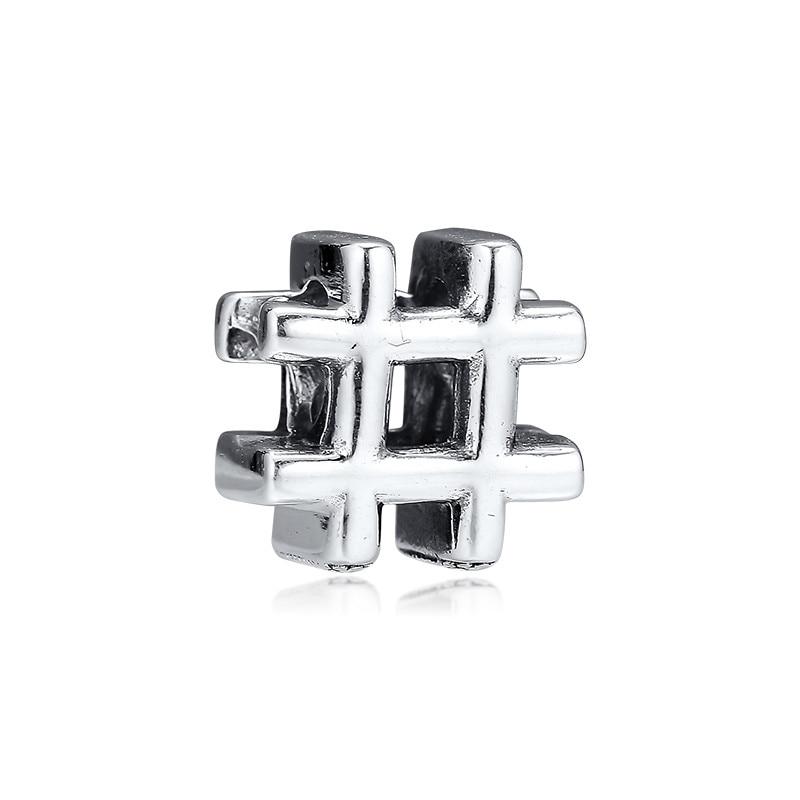 Hashtag símbolo cuentas Vintage para la fabricación de joyas de moda 925 cuentas de plata esterlina ajuste encanto pulsera Femme joyería DIY Kralen