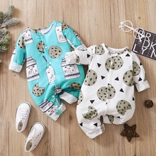 Baby Rompers Autumn Long Sleeve Cartoon Printed  Jumpsuits  Boys Long Rompers  fall clothes for kids