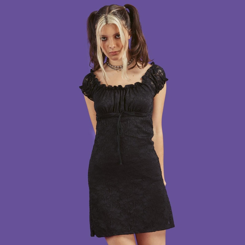 New Women Lace Dress Summer Sexy Sun beach dress short sleeve black vintage dress Ladies Dresses Womens Clothing Casual