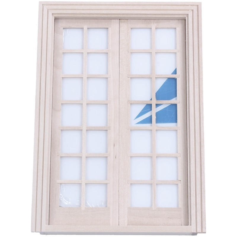 Casa de muñecas 1/12, Material de bricolaje en miniatura, puerta francesa clásica