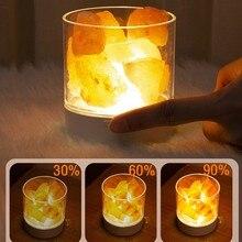 Usb luz de cristal natural sal do himalaia lâmpada led purificador de ar criador humor interior luz quente candeeiro mesa quarto lava lâmpada #5