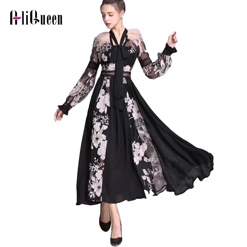 Женское прозрачное Сетчатое платье, модельное длинное платье с вышивкой перьями и бантом на шее, вечерние платья с рукавами-фонариками