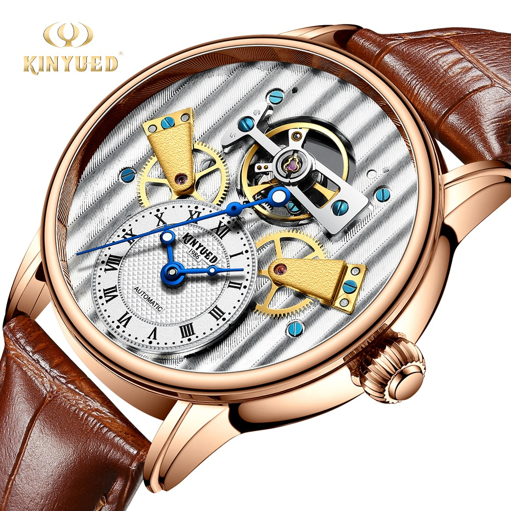 KINYUED الإبداعية الرجال ساعة اليد التلقائي الميكانيكية توربيون الرياضة الجلود ساعة الموضة الفاخرة الذكور الهدايا Montre أوم