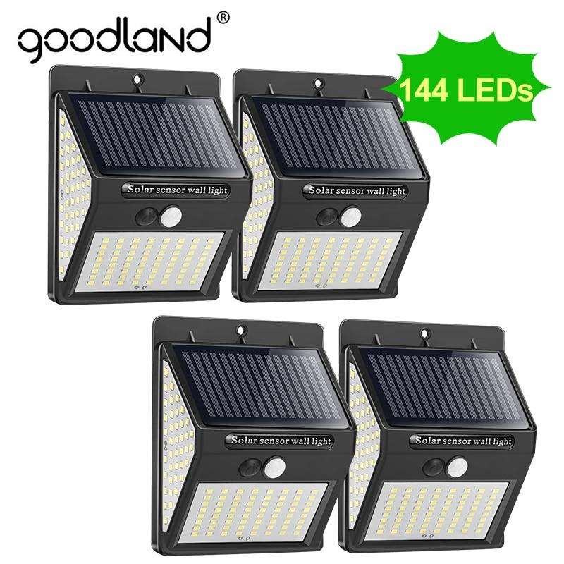 Goodland 144 100, luz Solar LED, lámpara Solar para exteriores, Sensor de movimiento PIR, luz Solar para decoración de jardín