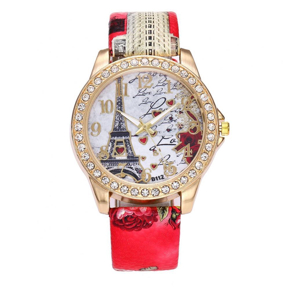 80%HOT Ladies Eiffel Tower Rhinestone Artificial Leather Strap Round Dial Ladies Clock Quartz Watch eiffel tower round wood analog wall clock