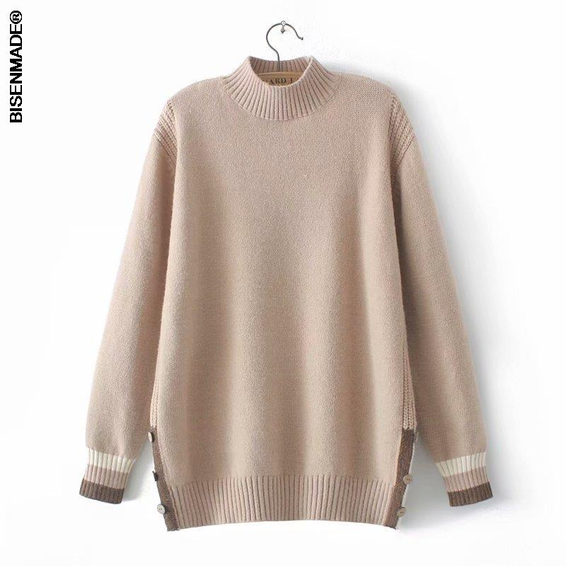 2021 Autumn Winter Sweater Women Clothes Plus Size&Curve Jumper Half High Collar Wooden Buttons On Both Sides Female Pullovers