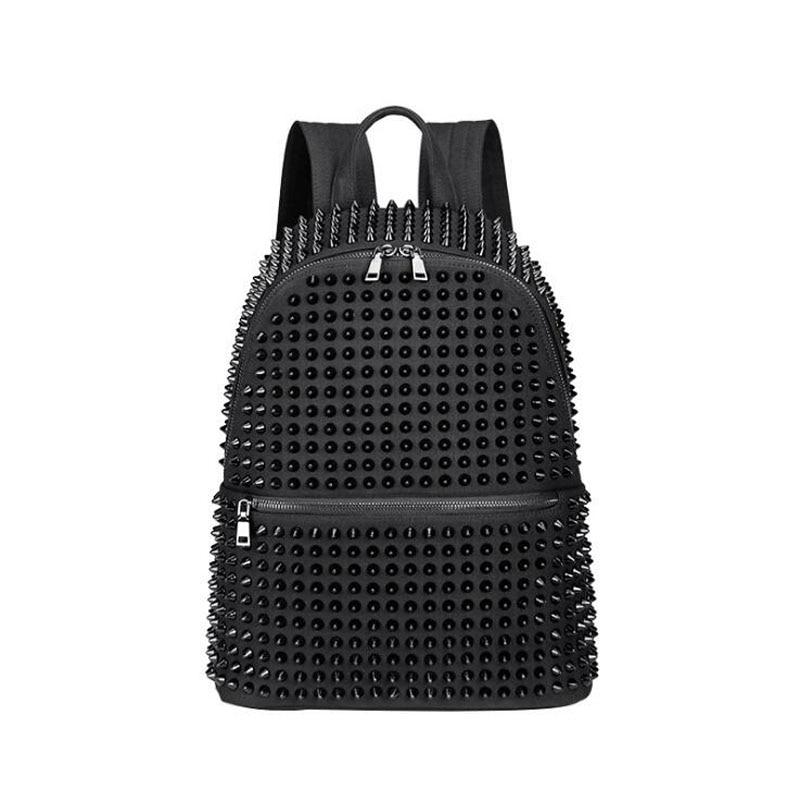حقيبة ظهر من الجلد الأسود الناعم المغسول للفتيات ، حقيبة مدرسية بانك للمراهقين ، عصرية