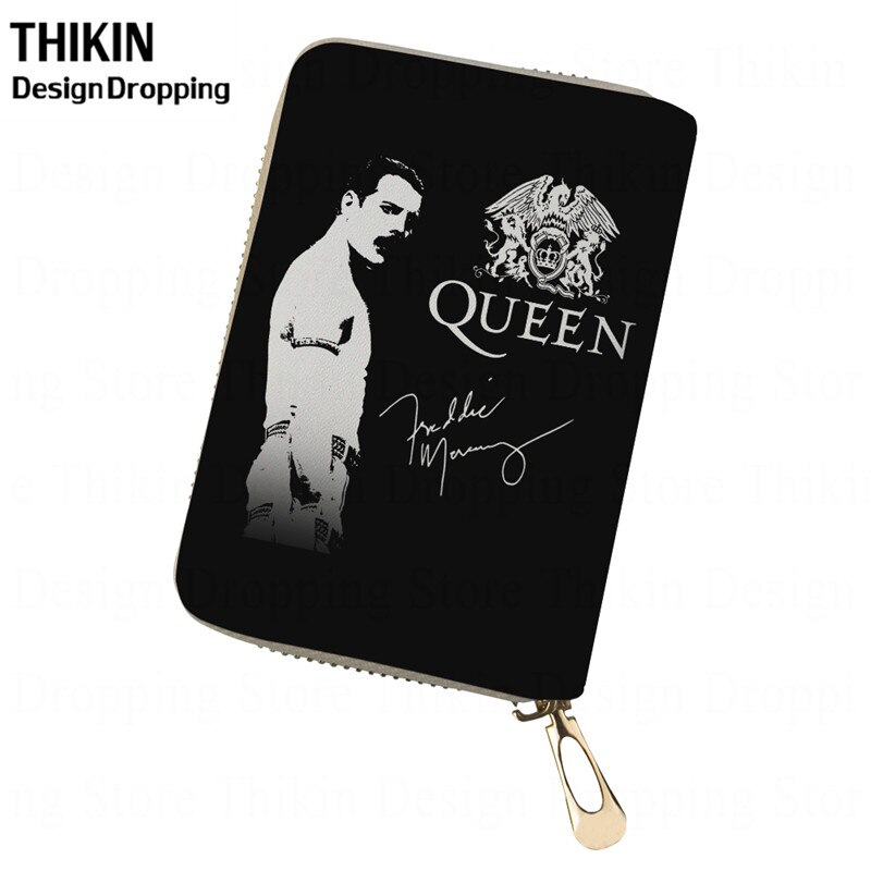 Thikin freddie mercury impressão titular do cartão de telefone feminino rainha banda carteira titular do cartão de crédito capa de passaporte de viagem de couro