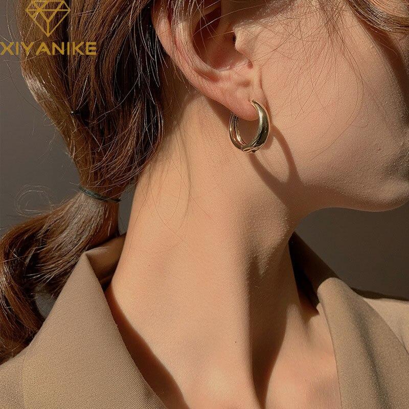 Xiyanike brincos de prata esterlina 925, brincos para casais femininos, minimalista, geométrico, ganchos de orelha, joias de festa, presentes