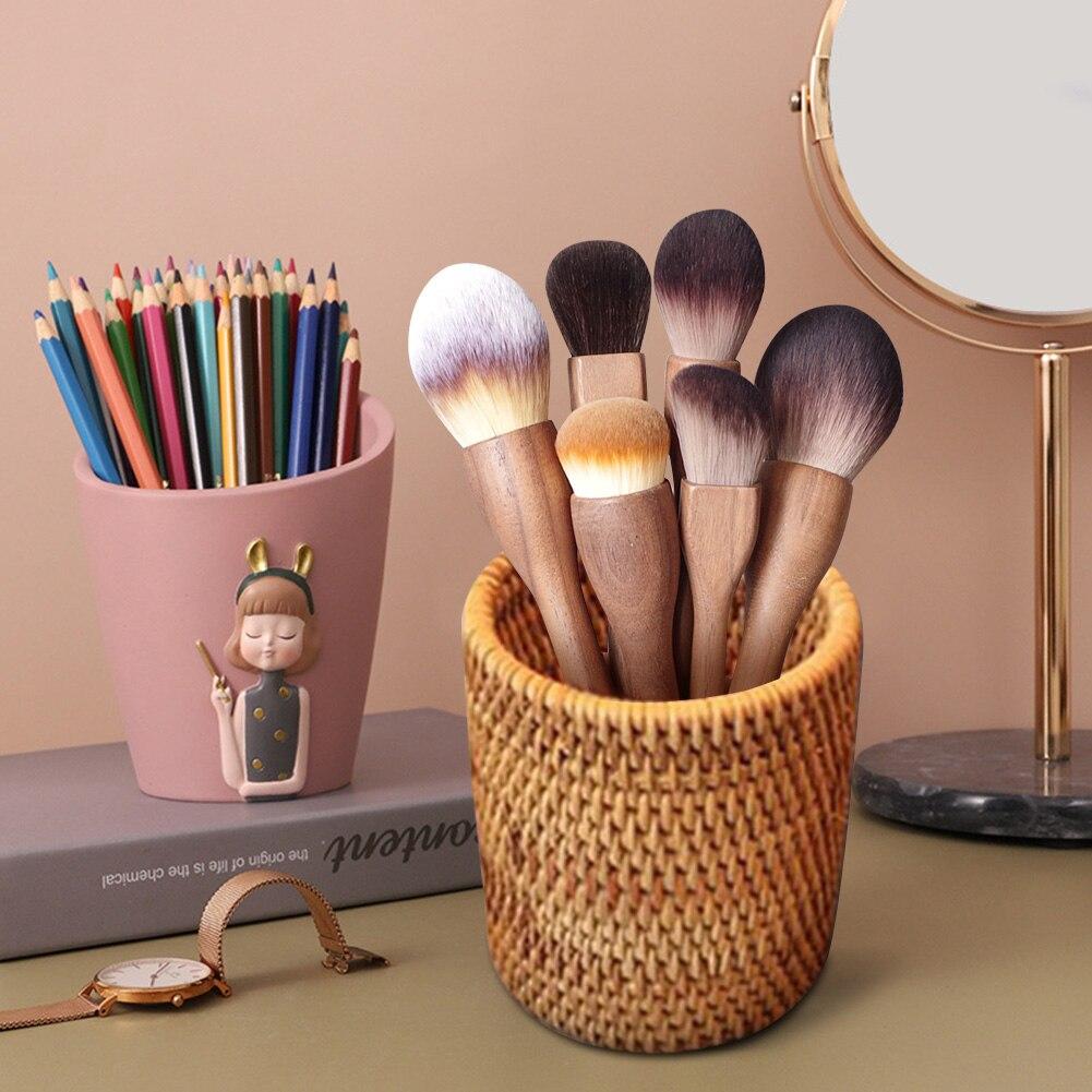 Rattan Pen Holder Handwoven Pencil Makeup Brush Organizer Multi-Purpose for Home Office Desk