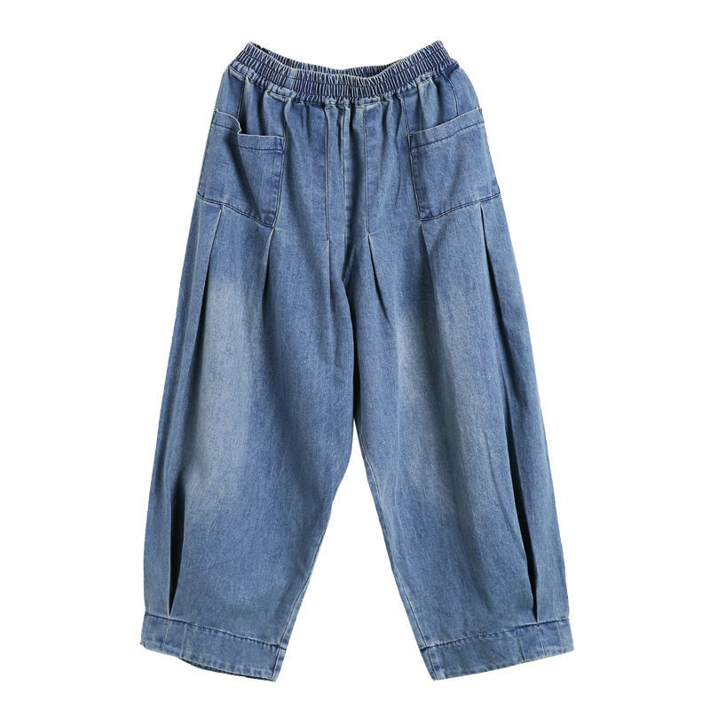 New Baggy Jeans Women Denim Casual Cross Pants Female Vintage Retro Harem Pants Trousers Bloomers 2021 Mom Jeans Strass traf