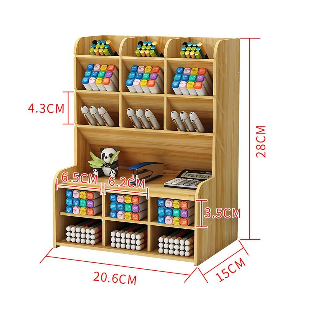 Multi-function Wooden Desktop Pen Holder Office School Stationery Storage Stand Case Desk Pen Pencil Organizer