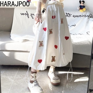 Harajpoo Women Skirts Female Summer Korean Ins Girl Embroidery Bear Love Thin High Waist Mid Length Tool Umbrella Casual Skirt