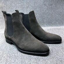Męskie sztuczny zamsz chelsea Boots wysokie góry szpiczasty nosek botki buty trekkingowe odporne na zużycie obuwie Botas Mujer