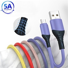 Mobile Phone Cables 5A 2m Stable Current Liquid Silicone Charger Cable Fast Chargingfor Samsung S7 S