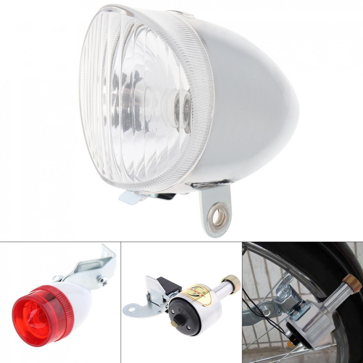 6V 3W Серебряный велосипед Динамо светильник s светодиодный самоуправляемый передний светильник на голову и задний светильник светодиодный светильник комплект безопасности для велосипеда