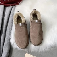 fur women for shoes plush keep warm flat shoes women casual buckle loafers fur shoes