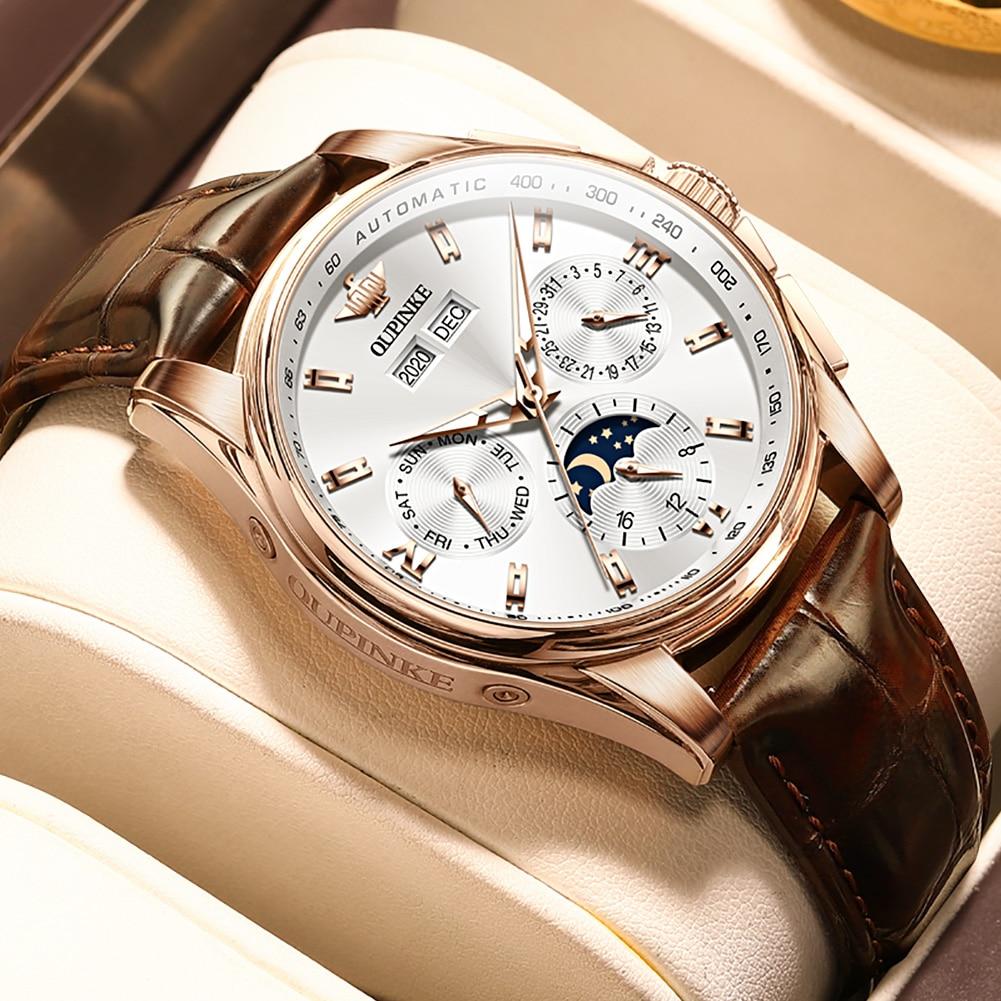 OUPINKE سويسرا الفاخرة العلامة التجارية 2021 منتجات جديدة ساعة رجالي صغيرة الهاتفي ساعة يد تعمل بالحركة الياقوت التلقائي ساعة ميكانيكية