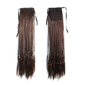 Box Braids Synthetic Ponytail Hair Extensions Black Ribbon Hairpieces Woman Pony Tail High Heat Resistant With Clip