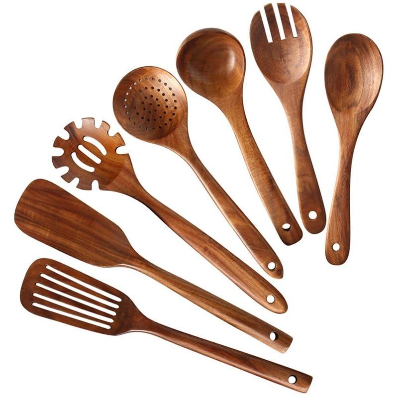 مجموعة ملاعق مطبخ خشبية ، مجموعة ملاعق من خشب الساج الطبيعي ، تتضمن 7 عبوات