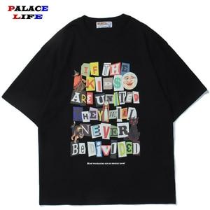 2021 Men Streetwear T-Shirt Hip Hop Harajuku Letter Cat Print T Shirt Cotton Casual Summer Short Sleeve Tshirt Black Tops Tees